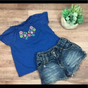 Jean shorts & embroidered tee outfit